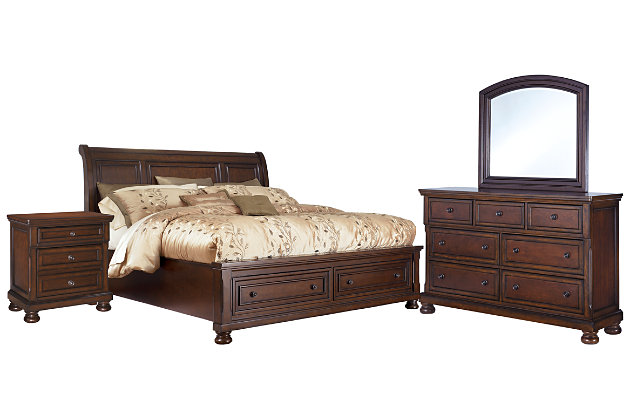 Porter King Sleigh Bed with Mirrored Dresser and Chest, Rustic Brown, large