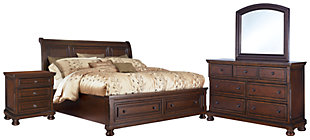 Porter Queen Panel Bed with Dresser Mirror and Nightstand, Rustic Brown, large