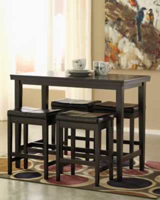 Ashley Kimonte 5-Piece Dining Room, Dark Brown Leather