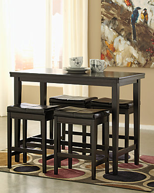 Kimonte 5-Piece Counter Height Dining Room, Dark Brown, rollover