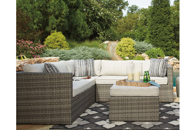 Beige/Brown Peckham Park 4 Piece Outdoor Sectional Set View 1