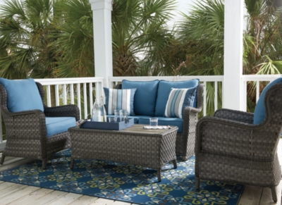 Piece Outdoor Conversation Set Blue Gray Court Product Photo 395