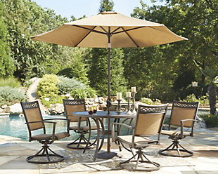 Carmadelia 7-Piece Outdoor Dining Set with Umbrella, , large