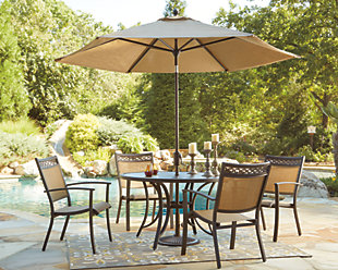 Carmadelia 7-Piece Outdoor Round Dining Set with Umbrella, , rollover