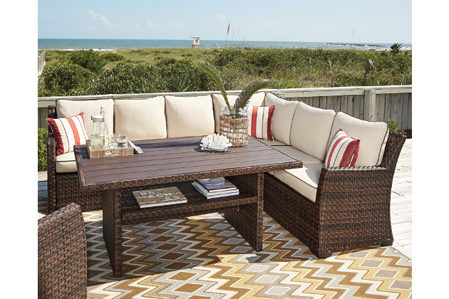 Nice Beige/Brown Salceda 4 Piece Outdoor Sectional Set View 3