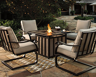 Wandon 5-Piece Outdoor Fire Pit Conversation Set, , large
