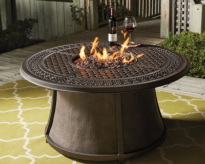 Ashley Burnella Outdoor Round Chat Fire Pit Table, Orange...
