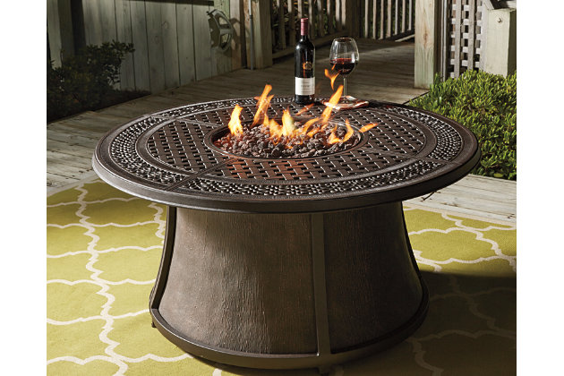 Burnella Outdoor Round Chat Fire Pit Table Ashley