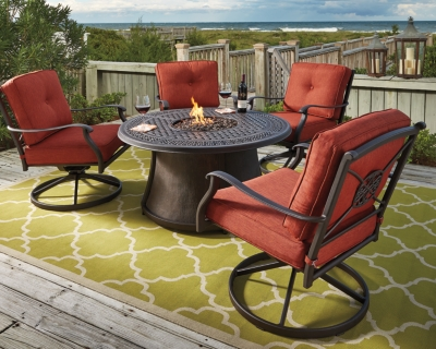 Outdoor Fire Pit Conversation Set Orange Brown Piece Product Photo 320