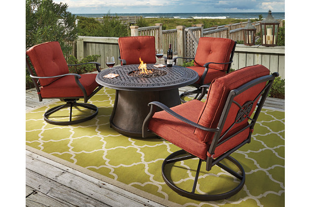 Burnella 5 Piece Outdoor Fire Pit Conversation Set Large