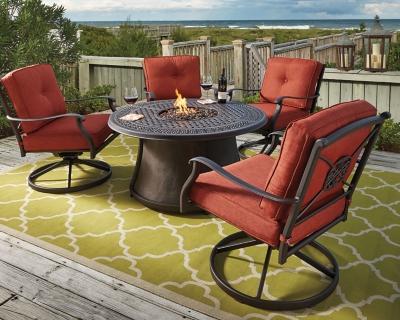 Image of: Burnella 5 Piece Outdoor Fire Pit Conversation Set Ashley Furniture Homestore