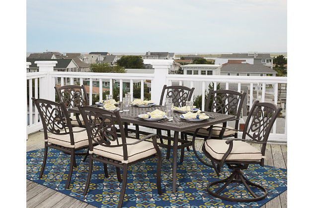 Burnella 7 Piece Outdoor Rectangular Dining Set Ashley