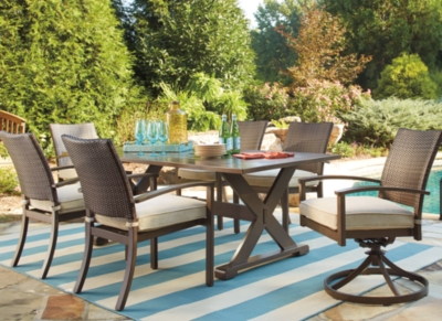 Moresdale 7Piece Outdoor Rectangular Dining Set Ashley Furniture