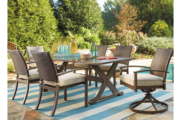 Moresdale 7-Piece Outdoor Rectangular Dining Set, , large
