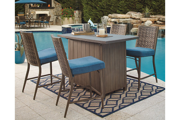 Partanna 5-Piece Outdoor Bar Table Set | Ashley Furniture HomeStore