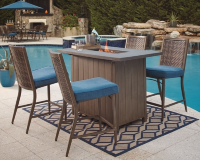 Outdoor Bar Table Set Blue Beige Piece Product Photo 395