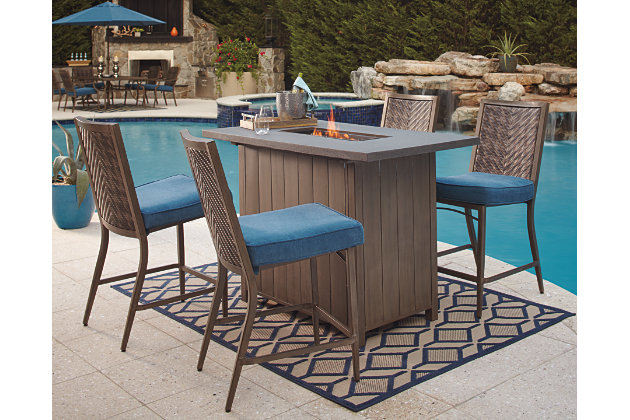 Partanna 5 Piece Outdoor Bar Table Set Large
