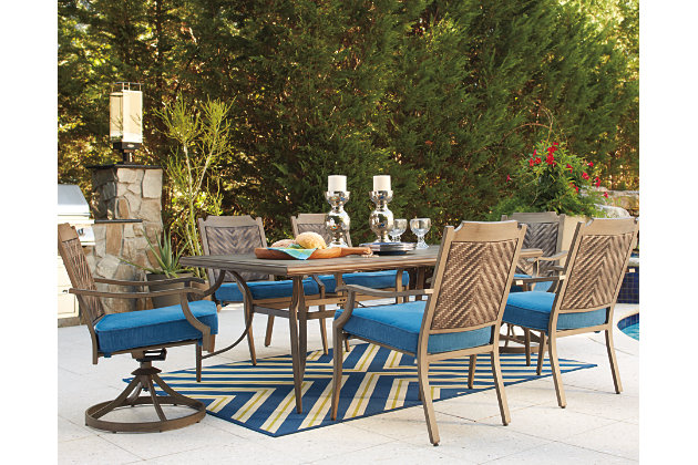 Blue/Beige Partanna 7 Piece Outdoor Dining Set View 1
