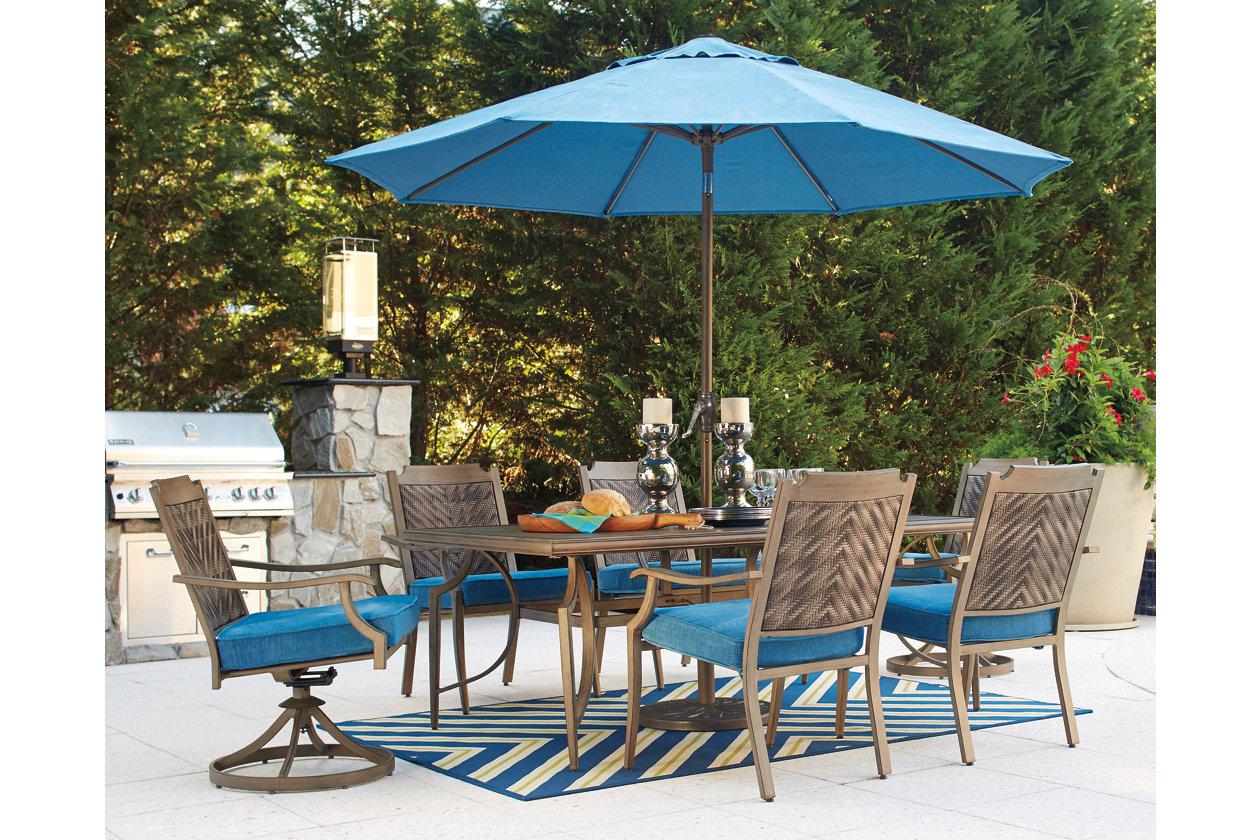 Super Partanna 9 Piece Outdoor Dining Set Ashley Furniture Homestore Cjindustries Chair Design For Home Cjindustriesco