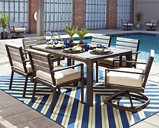 Peachstone 7-Piece Outdoor Rectangular Dining Set, , large