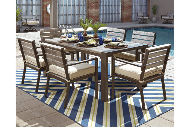 Peachstone 7 Piece Outdoor Rectangular Dining Set, , Large ...