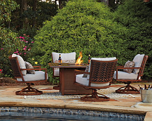 Zoranne 5-Piece Outdoor Fire Pit Conversation Set, , rollover