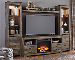 ... Large Trinell 4 Piece Entertainment Center With Electric Fireplace, ,  Rollover