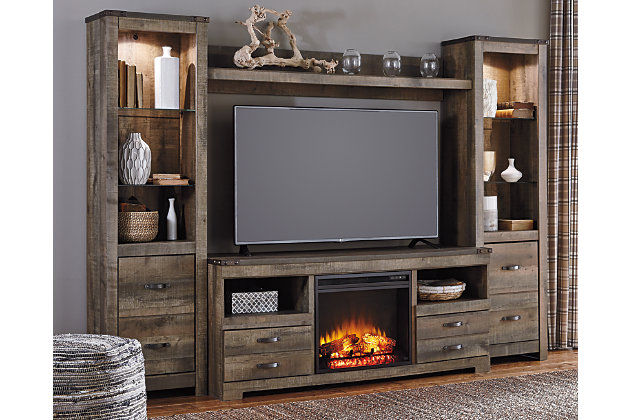 trinell 4 piece entertainment center with electric fireplace rh ashleyfurniture com entertainment center with electric fireplace plans entertainment center with electric fireplace plans