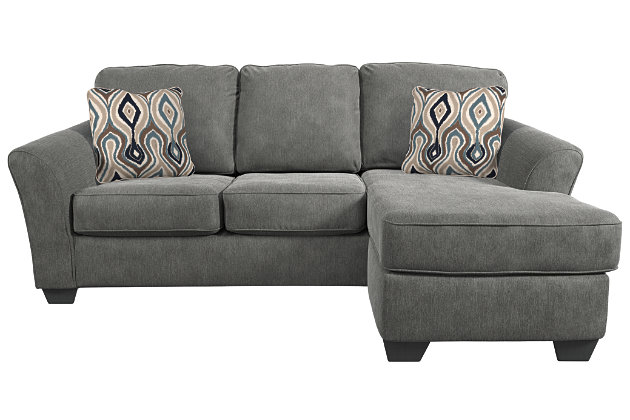Terrarita sofa chaise and pillows ashley furniture homestore for Ashley brown sofa chaise