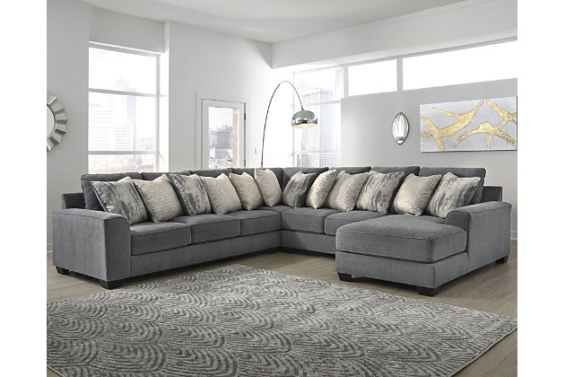 Castano 4 Piece Sectional With Chaise, Gray Sectional Couch Ashley Furniture