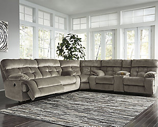 Brassville 3-Piece Reclining Sectional with Power, Graystone, rollover