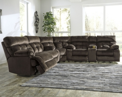 Brassville 3-Piece Reclining Sectional, Chocolate, large
