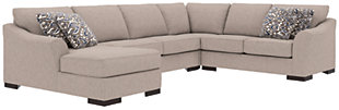 Bantry Nuvella® 4-Piece Sleeper Sectional and Pillows, Slate, rollover