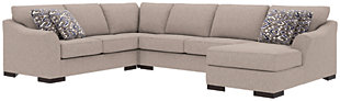 Bantry Nuvella® 4-Piece Sleeper Sectional and Pillows, Slate, large