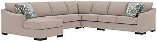 Bantry Nuvella® 5-Piece Sleeper Sectional and Pillows, Slate, rollover