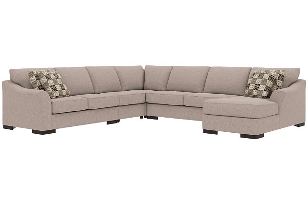 Bantry Nuvella® 5-Piece Sleeper Sectional and Pillows, Slate, large