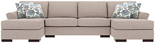 Bantry Nuvella® 3-Piece Sleeper Sectional and Pillows, Slate, rollover