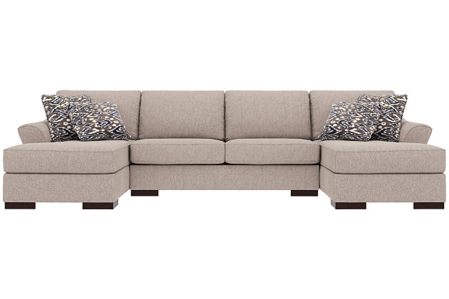 Bantry Nuvella® 3-Piece Sleeper Sectional and Pillows, Slate, large
