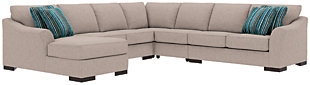 Bantry Nuvella® 5-Piece Sectional and Pillows, Slate, rollover
