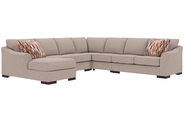 Bantry Nuvella® 5-Piece Sectional and Pillows, Slate, large
