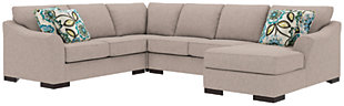 Bantry Nuvella® 4-Piece Sectional and Pillows, Slate, large
