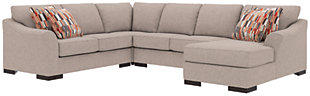Bantry Nuvella® 4-Piece Sectional and Pillows, Slate, rollover