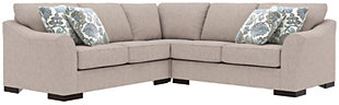 Bantry Nuvella® 3-Piece Sectional and Pillows, Slate, rollover