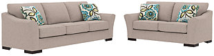 Bantry Nuvella® Sofa, Loveseat and Pillows, Slate, large