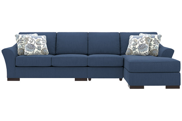 Bantry Nuvella® 3-Piece Sectional and Pillows, Indigo, large