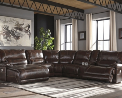 Sectional Power Walnut Leather Piece Product Photo