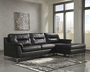 Tensas 2-Piece Sectional, Black, rollover