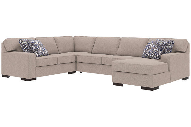 Ashlor Nuvella® 4-Piece Sleeper Sectional and Pillows, Slate, large