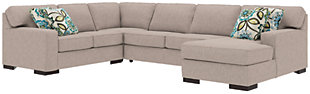 Ashlor Nuvella® 4-Piece Sleeper Sectional and Pillows, Slate, rollover