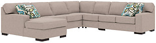 Ashlor Nuvella® 5-Piece Sleeper Sectional and Pillows, Slate, rollover